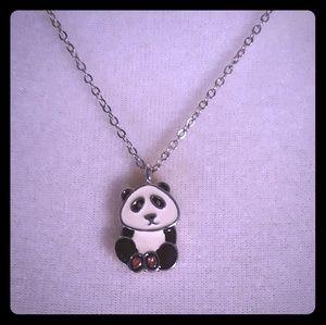 Cute panda Bear charm on Silvertone necklace